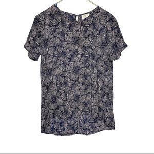 Sienna sky navy blue floral chiffon sheer blouse